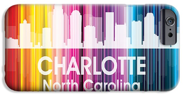 Buildings Mixed Media iPhone Cases - Charlotte NC 2 Squared iPhone Case by Angelina Vick