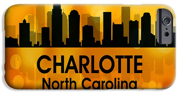 Buildings Mixed Media iPhone Cases - Charlotte NC 3 Squared iPhone Case by Angelina Vick