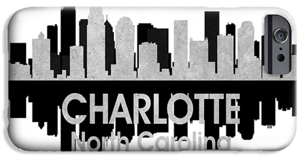 Buildings Mixed Media iPhone Cases - Charlotte NC 4 Squared iPhone Case by Angelina Vick