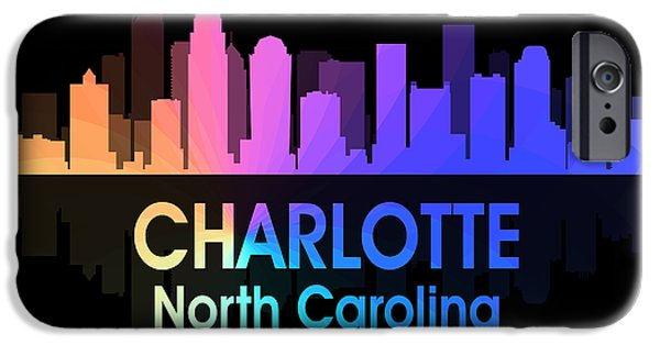Charlotte Mixed Media iPhone Cases - Charlotte NC 5 Squared iPhone Case by Angelina Vick