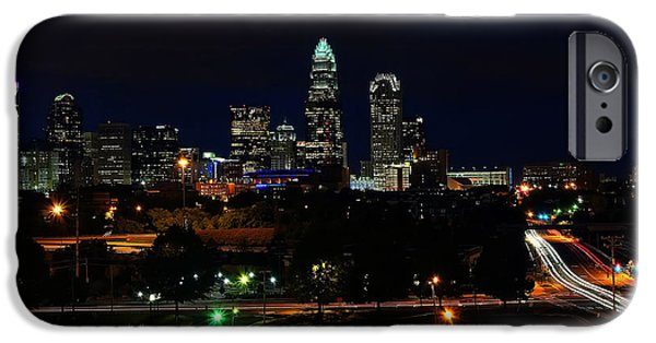 Charlotte iPhone Cases - Charlotte NC at night iPhone Case by Chris Flees