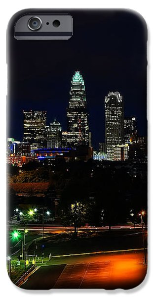 Charlotte NC at night iPhone Case by Chris Flees