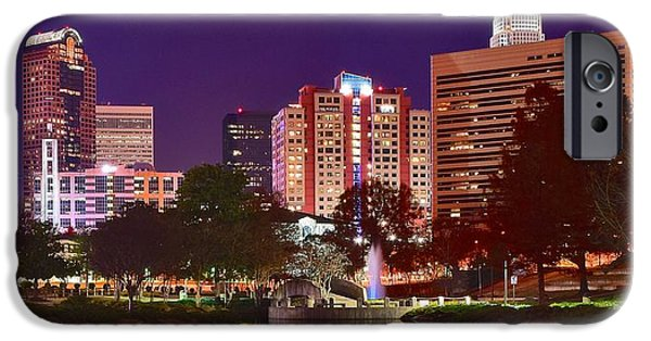 Charlotte iPhone Cases - Charlotte Night Panoramic  iPhone Case by Frozen in Time Fine Art Photography