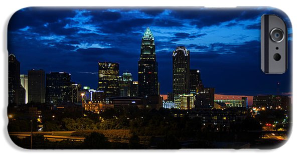Charlotte iPhone Cases - Charlotte North Carolina panoramic image iPhone Case by Chris Flees