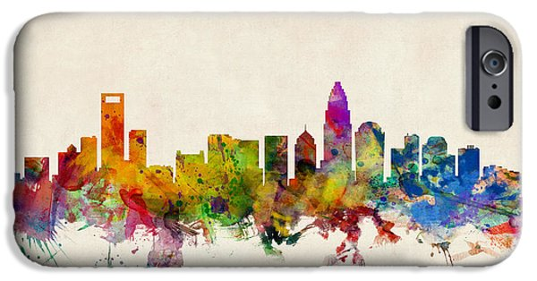 States iPhone Cases - Charlotte North Carolina Skyline iPhone Case by Michael Tompsett