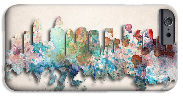 Charlotte iPhone Cases - Charlotte Painted City Skyline iPhone Case by World Art Prints And Designs
