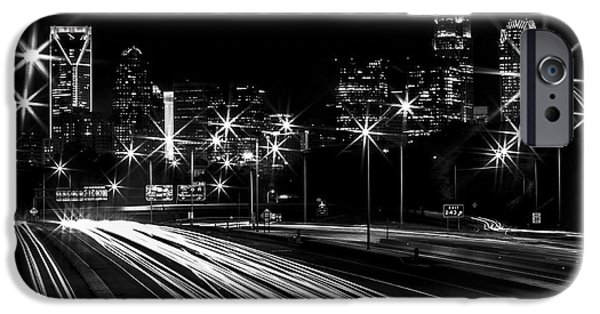 Charlotte iPhone Cases - Charlotte Flow B/W iPhone Case by Chris Austin