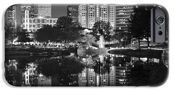 Charlotte iPhone Cases - Charlotte Reflecting in Black and White iPhone Case by Frozen in Time Fine Art Photography