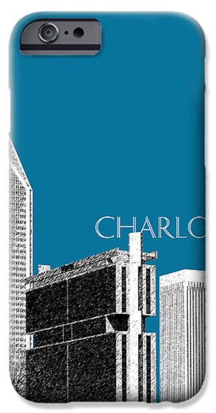 Charlotte Digital Art iPhone Cases - Charlotte Skyline 1 - Steel iPhone Case by DB Artist