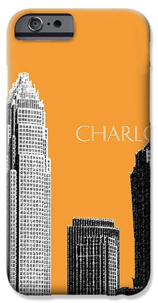 Pen And Ink iPhone Cases - Charlotte Skyline 2 - Orange iPhone Case by DB Artist