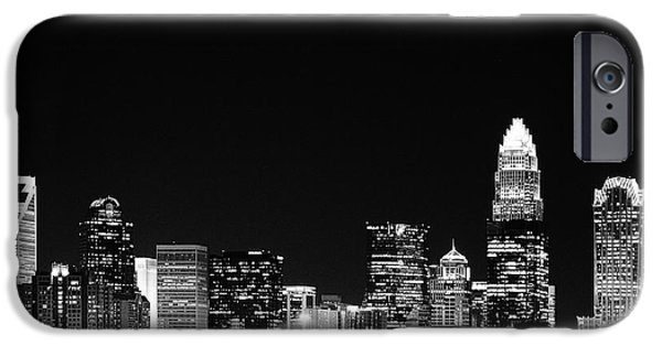 Clt iPhone Cases - Charlotte Skyline at Night Black and White iPhone Case by Fred Koehl