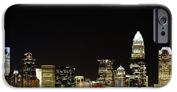 Clt iPhone Cases - Charlotte Skyline at Night iPhone Case by Fred Koehl