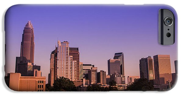 Charlotte iPhone Cases - Charlotte Skyline at Sunset iPhone Case by Paul Scolieri