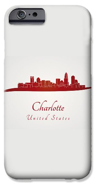 Charlotte skyline in red iPhone Case by Pablo Romero