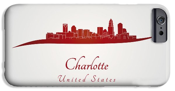 Charlotte Digital Art iPhone Cases - Charlotte skyline in red iPhone Case by Pablo Romero