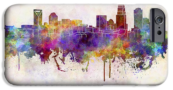 Charlotte iPhone Cases - Charlotte skyline in watercolor background iPhone Case by Pablo Romero