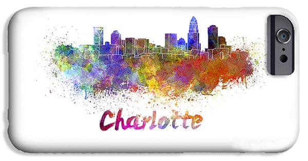 Charlotte iPhone Cases - Charlotte skyline in watercolor iPhone Case by Pablo Romero