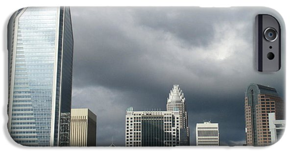 Uptown Charlotte iPhone Cases - Charlotte Skyline iPhone Case by Randall Weidner
