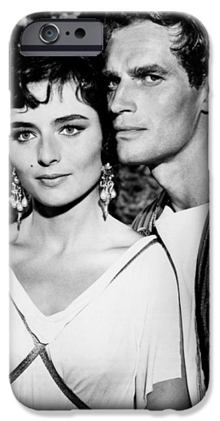 1950s Movies iPhone Cases - Charlton Heston and Marina Berti iPhone Case by Mountain Dreams