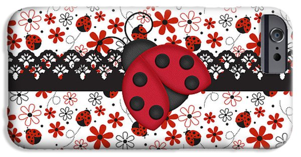Ladybug iPhone Cases - Charming Ladybugs iPhone Case by Debra  Miller