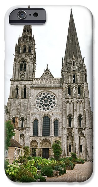 Facade iPhone Cases - Chartres Cathedral and Esplanade iPhone Case by Olivier Le Queinec
