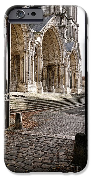 Facade iPhone Cases - Chartres Cathedral North Transept iPhone Case by Olivier Le Queinec