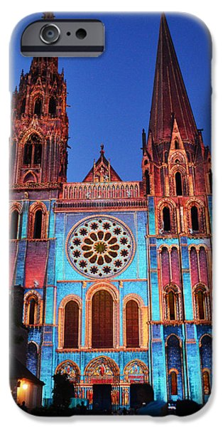 Lumiere iPhone Cases - Chartres Cathedral with colors iPhone Case by RicardMN Photography