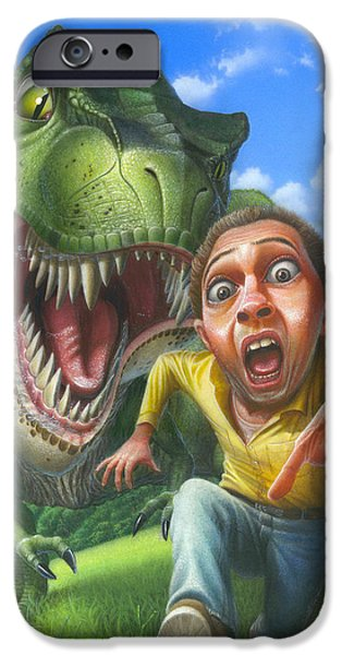 Airbrush iPhone Cases - Chased By A Tyrannosaurus Rex Blank Greeting card iPhone Case by Walt Curlee
