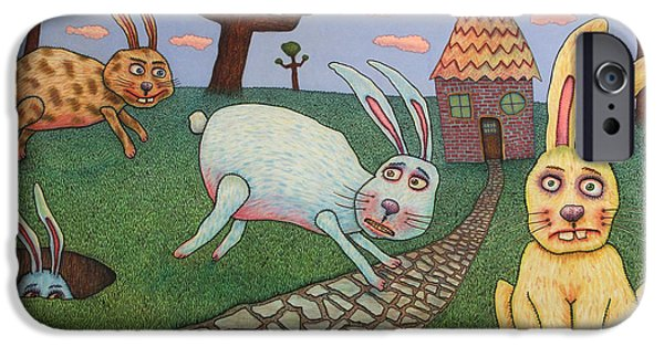 Rabbit iPhone Cases - Chasing Tail iPhone Case by James W Johnson