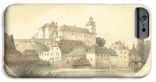Czech Republic Digital iPhone Cases - Chateau Brandys nad Labem iPhone Case by Jenny Rainbow