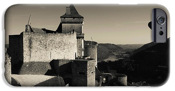 Hot Air Balloon iPhone Cases - Chateau De Castelnaud With Hot Air iPhone Case by Panoramic Images