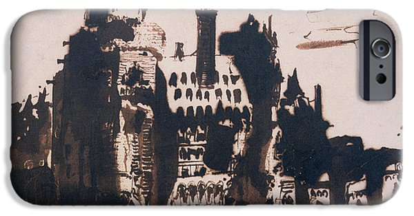 Abstract Expressionist Drawings iPhone Cases - Chateau fortified by two Bridges iPhone Case by Victor Hugo