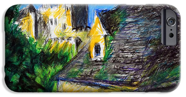 Village Pastels iPhone Cases - Chateau in Dordogne France iPhone Case by Paul Sutcliffe