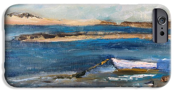 Chatham Paintings iPhone Cases - Chatham Boat in the Cove iPhone Case by Michael Helfen