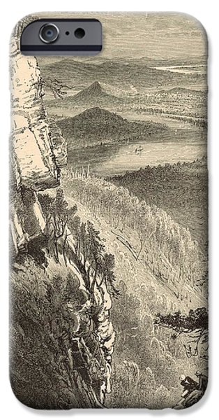 Tennessee Drawings iPhone Cases - Chattanooga and the Tennessee from Lookout Mountain iPhone Case by Antique Engravings