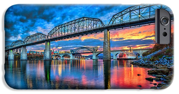 River Photographs iPhone Cases - Chattanooga Sunset 3 iPhone Case by Steven Llorca