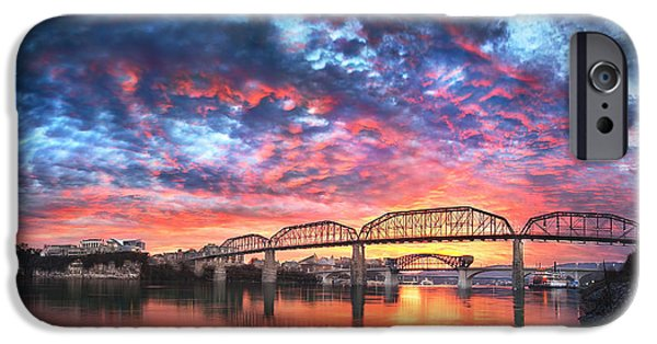 Tennessee River iPhone Cases - Chattanooga Sunset 4 iPhone Case by Steven Llorca