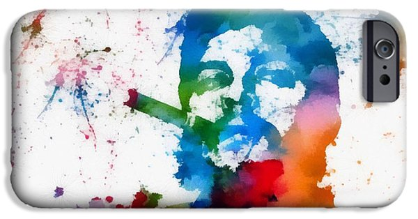 Revolution Mixed Media iPhone Cases - Che Guevara Paint Splatter iPhone Case by Dan Sproul