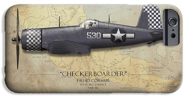 Carrier iPhone Cases - Checkerboarder F4U Corsair - Map Background iPhone Case by Craig Tinder