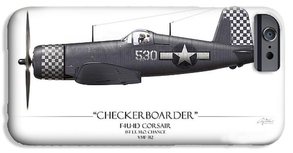 Chance iPhone Cases - Checkerboarder F4U Corsair - White Background iPhone Case by Craig Tinder