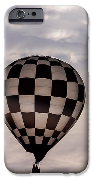 Hot Air Balloon iPhone Cases - Checkered Black and White iPhone Case by Teri Virbickis