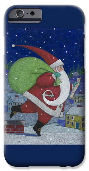 Santa iPhone Cases - Checking it Twice iPhone Case by Lynn Bywaters