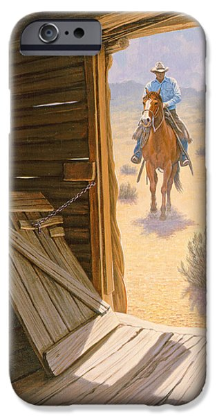 Cowboy iPhone Cases - Checking the Line Cabin iPhone Case by Paul Krapf