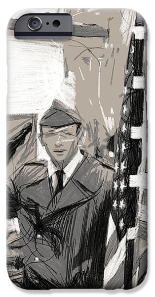 Berlin Drawings iPhone Cases - Checkpoint Charly iPhone Case by Stefan Kuhn
