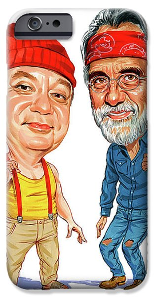 Comedian iPhone Cases - Cheech Marin and Tommy Chong as Cheech and Chong iPhone Case by Art