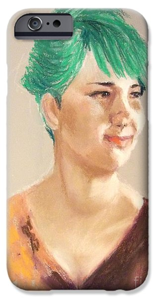 Cheerful Lady iPhone Case by Yoshiko Mishina