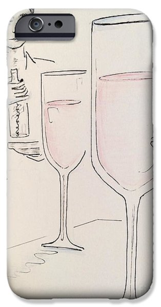 Table Wine Drawings iPhone Cases - Cheers iPhone Case by Barbara Chase