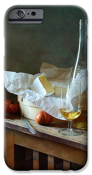 Table Wine iPhone Cases - Cheese and Wine  iPhone Case by Nikolay Panov