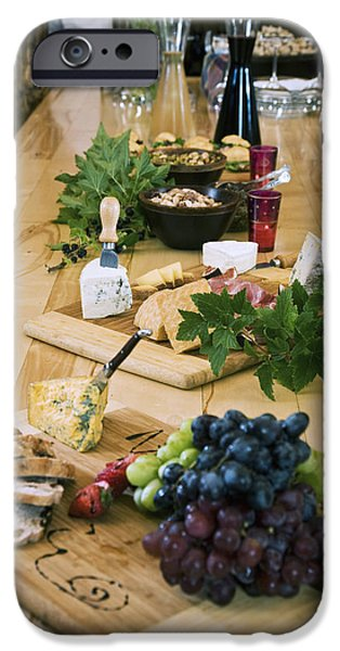 Wine Service Photographs iPhone Cases - Cheese, Bread And Fruit Hors Doervres iPhone Case by Jeff Schultz
