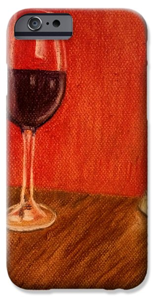 Table Wine Pastels iPhone Cases - Cheese With Your Wine iPhone Case by Dale Bradley